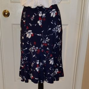Dark Blue Floral Print Skirt by CHAPS Size XL